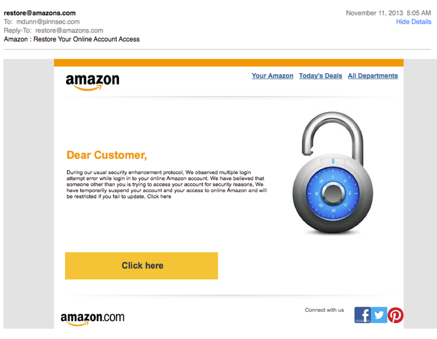 Amazon phishing email example