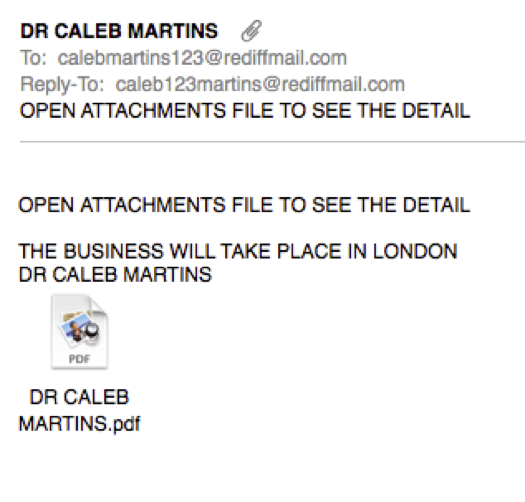 Caleb Martins Funny Spam Email example