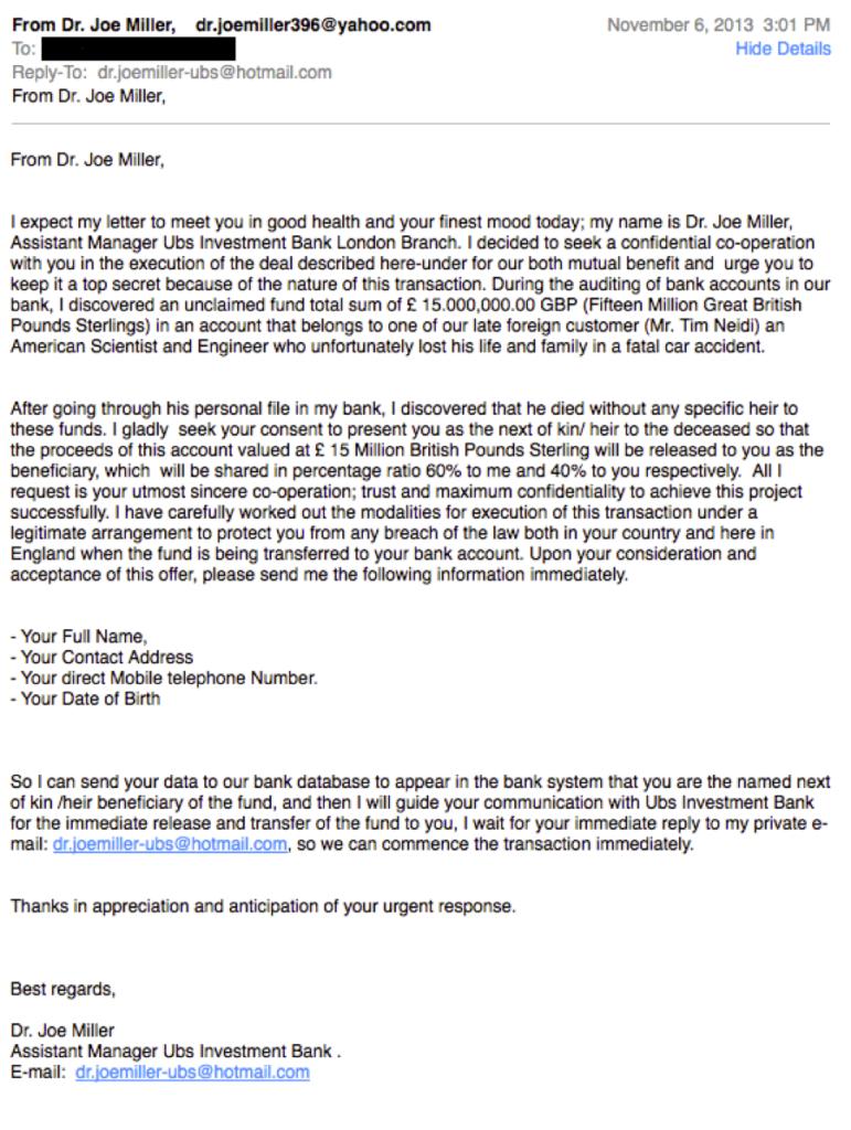 Joe Miller Nigerian Prince Email