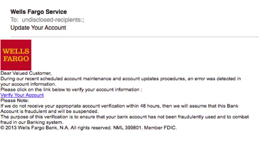 Wells Fargo phishing email