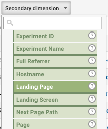 Google Analytics Secondary Dimension Landing Page