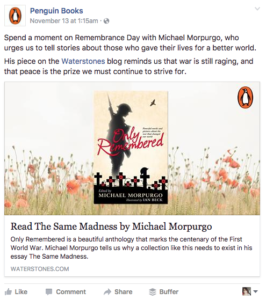 Penguin Boos post relevant to National Remembrance Day